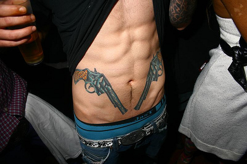 abs, boy, boys, handsome, hot, hot boy, muscles, pistols, sexy, six pack, tattoo, undies