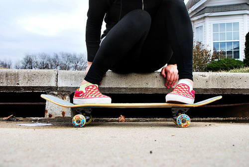 adorable, cute, girl, perfect, photography, skate, vans, vans off the wall