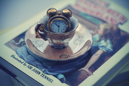alice, alice in wonderland, clock, tea, teacup, wonderland