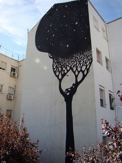 alone, art, building, city, creative, draw, graffiti, paint, painting, photo, photography, tree, trees, wall