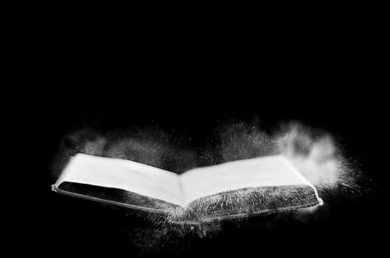 angeles, art, black, black and white, blow, book, daniel, dust, movement, negative, photography, read, space, white, words