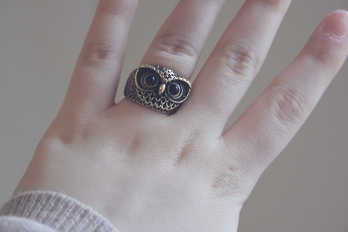 animal, cute, golden, hand, happiness, jewelery, love, owl, owl ring, ring