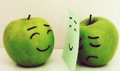 apple, apples, cute, fake, fruit, fruits, green, happy, post it, sad