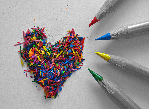 art, colouring pencils, colours, heart, love