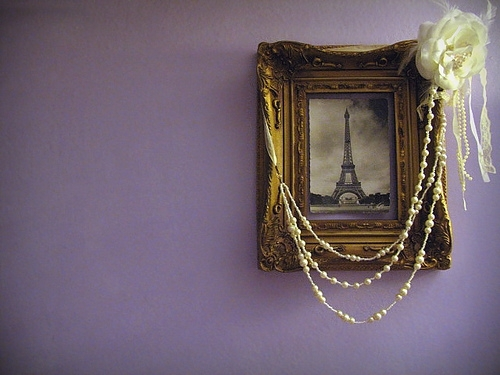 art, decor, eiffel tower, frame, pearls, picture