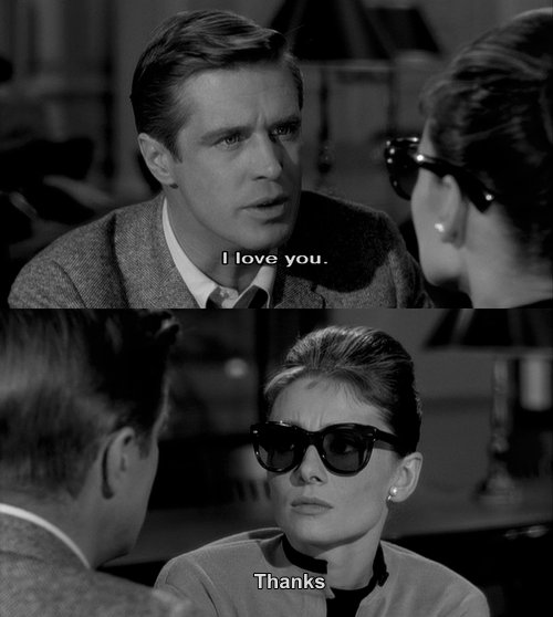 audrey hepburn, b&w, breakfast at tiffanys, breakup, couple