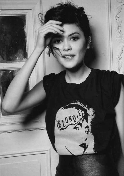 audrey tautou, beautiful, black and white