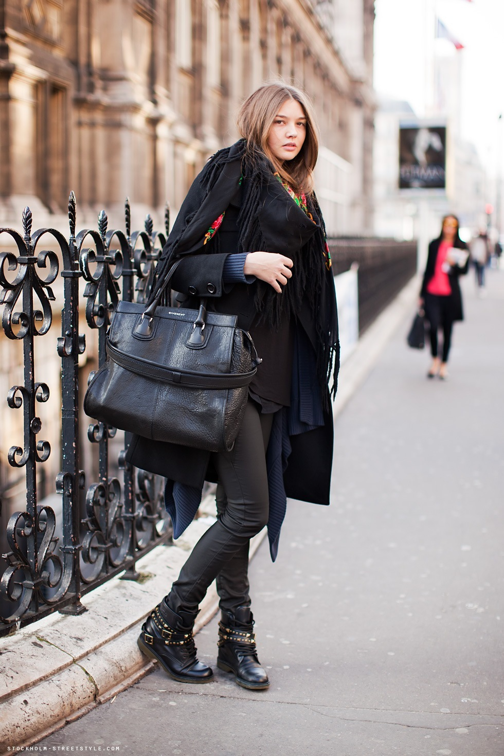 bag, black, boots, coat, cool