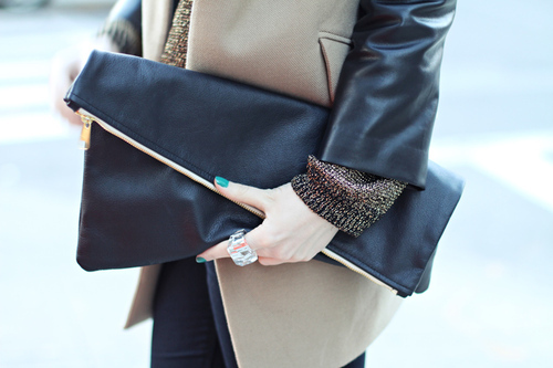 bag, clutch, fashion, leather, ring, street style