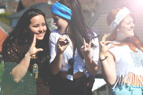bandana, friends, fun, girls , hands