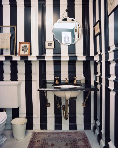 bathroom, decor, stripes