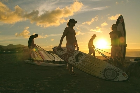 beach, sunset, surf board, surfing
