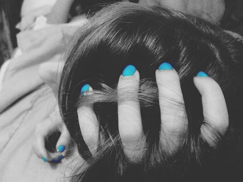 beautiful, black and white, blue, cute, girl, hair, nails, pretty, separate with comma