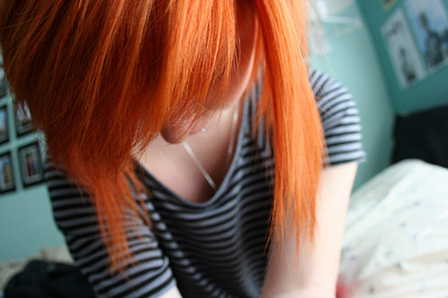 beautiful, bright, colorful, girl, hair, orange, orange hair, separate with comma