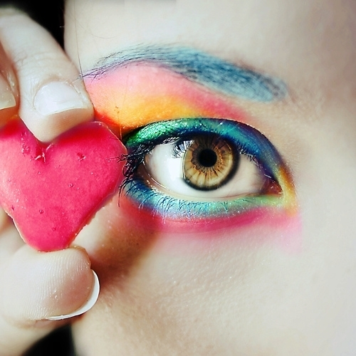 beautiful, colorful, colors, cute, eye, heart, love, make up, makeup, pretty, rainbow, separate with comma, sweet