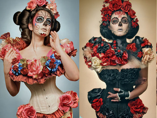 beauty, corset, costume, death, dia de los muertos, fashion, flowers, hair, makeup, mask, model, roses, skull, skull candy