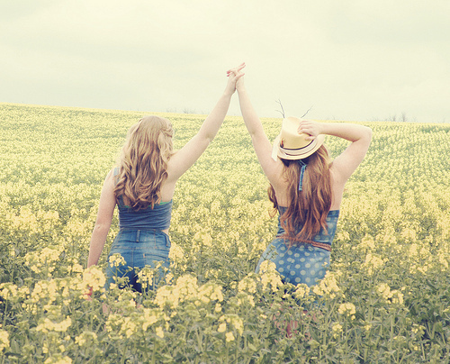 bffs, flowers, friends, girl, nature