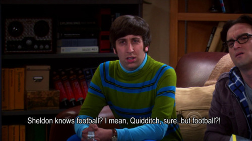big bang theory, football, harry potter, howard wolowitz, quidditch, sheldon cooper