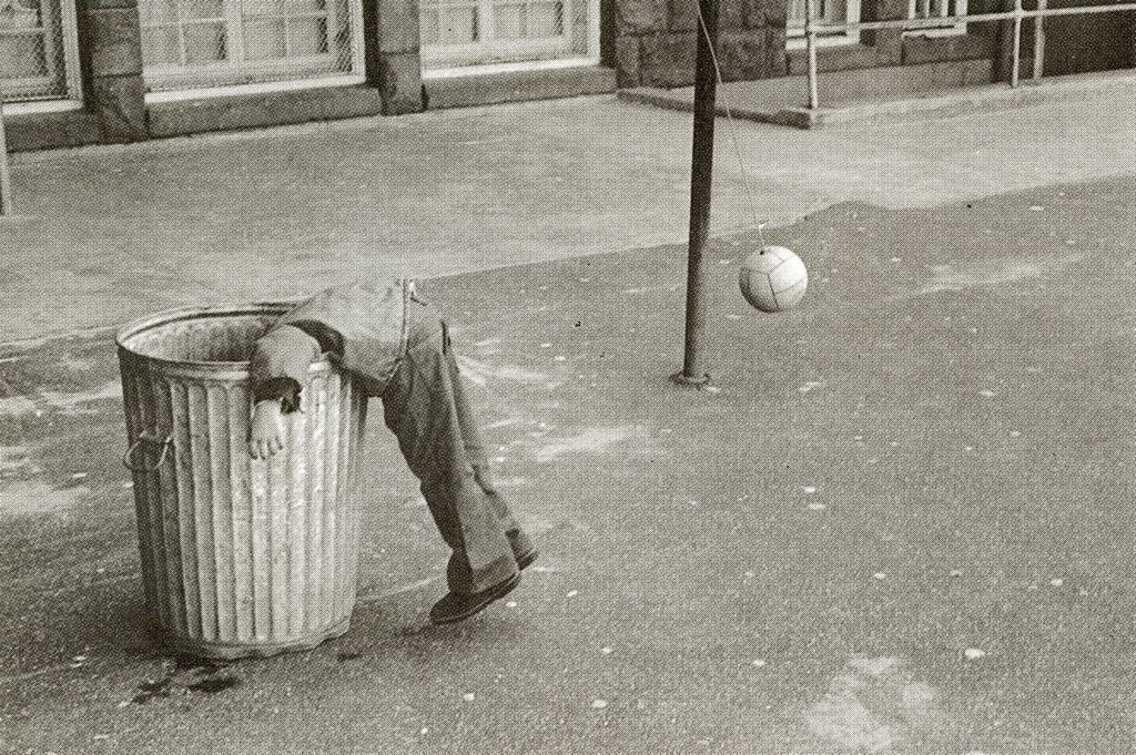 black and white, child, garbage bin, photography, play