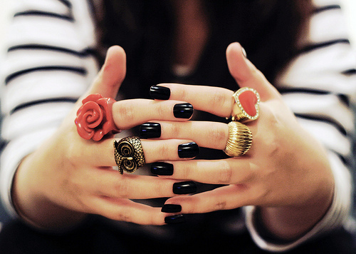 black, black and white, fashion, girl, gold, heart, jewelry, nail, owl, polish, red, rings, rose, strips