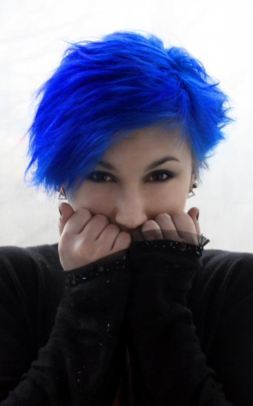 black, bleue, blue, blue hair, bluehead, close-up, fashion, girl, girl with blue hair, nice, photography, portrait, pretty, punk, sweet, weird