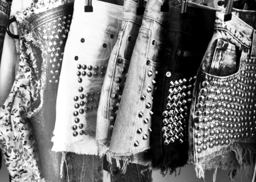 black, denim, fashion, photography, shorts, studded, studs, white