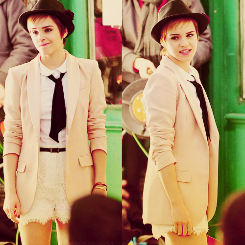 blazer, cute, emma watson, fashion, fedora, harry potter, lace, pink, pretty, short hair, shorts, simple, white