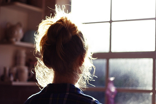 blond, bun, bun hair, girl, inmyownview, light, photography, sun, window