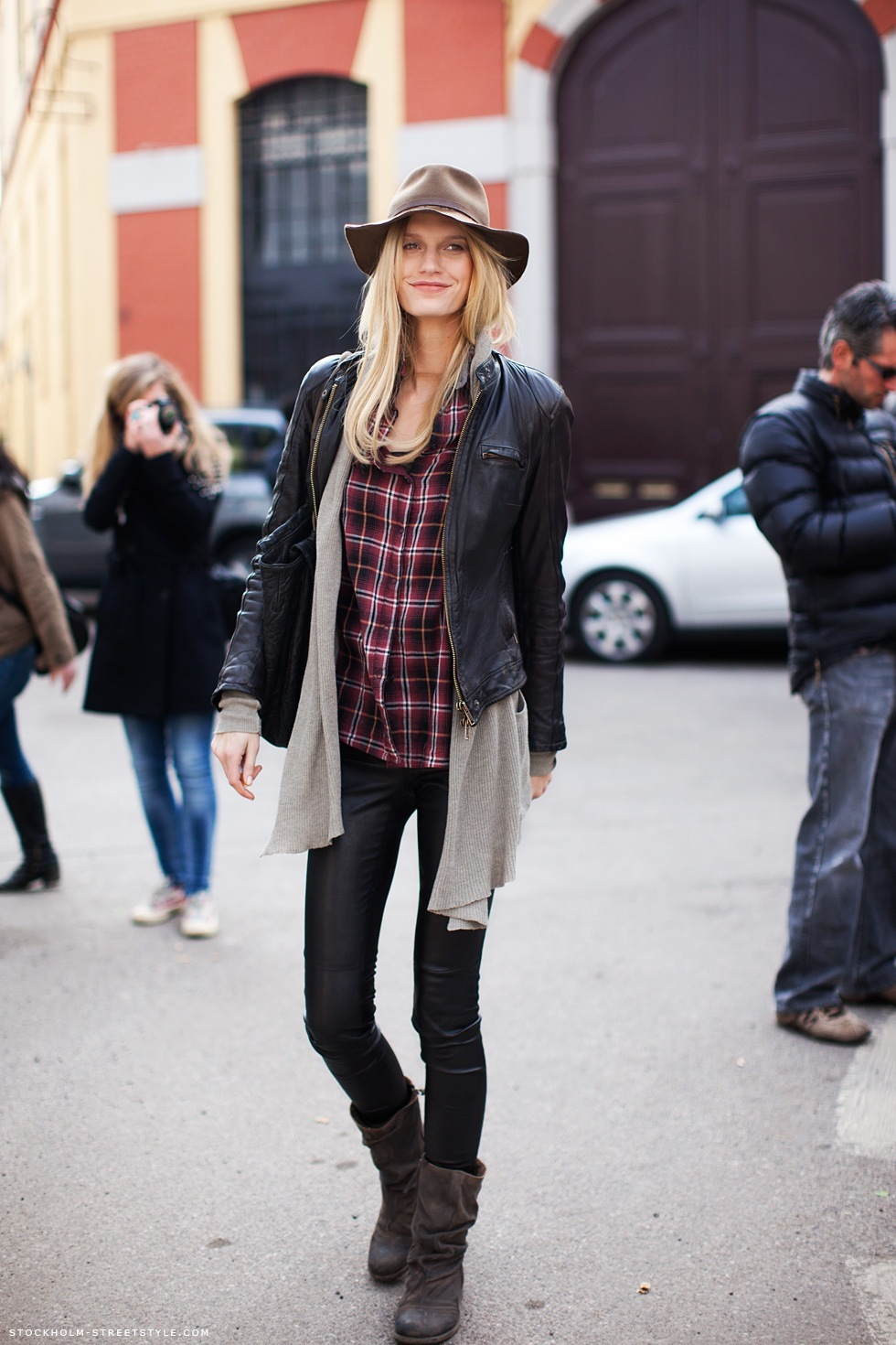 blonde, boots, checked, cool, fashion