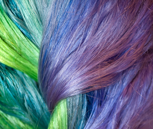 blue, colored, colour, green, hair, purple