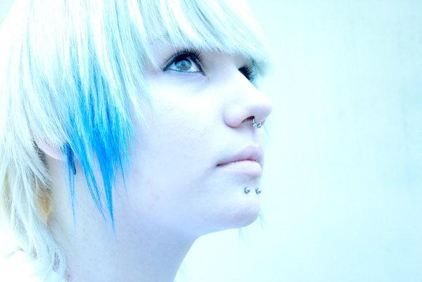 blue, girl, hair, lovely, piercing