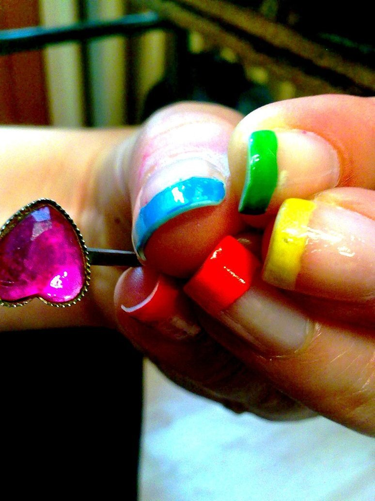 blue, green, heart, nails, pink