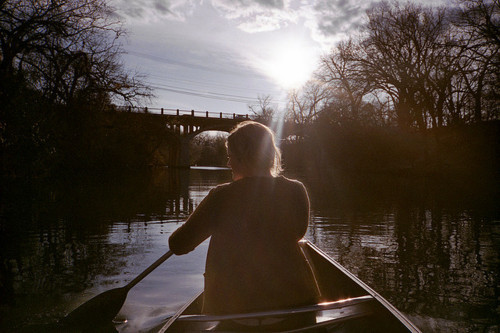 boat, girl, indie, photo, photography, river, sky, sun, water