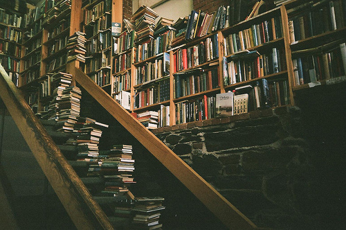book, books, library, stairs