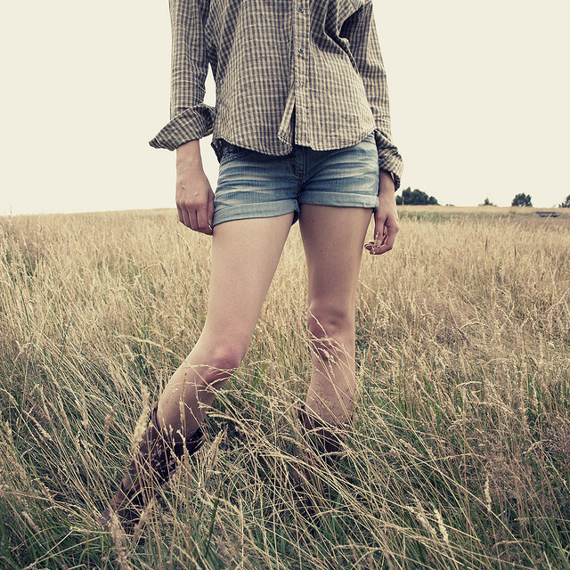 boots, cowgirl, cowgirl boots, girl, meadow