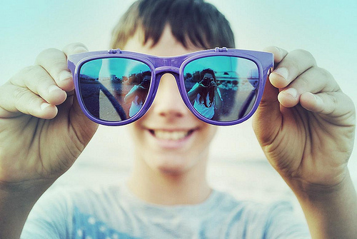 boy, brunette, camera, girl, glasses, guy, photography, rayban, smile, sunglasses