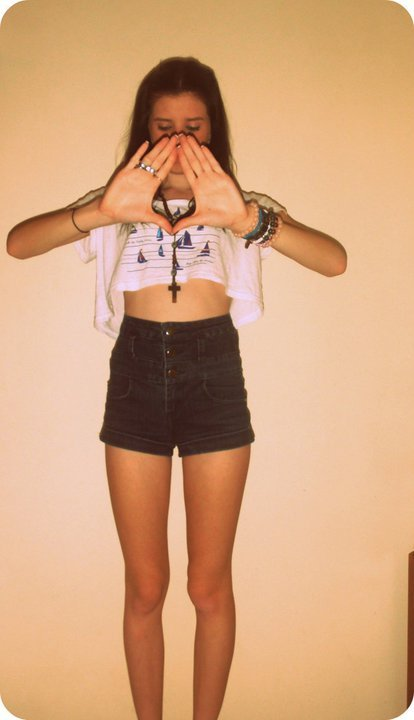 bracelets, brunette, cross, girl, illuminati, shorts