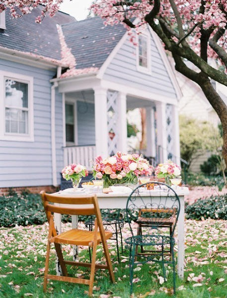 breathe relax, bungalow, calm, cottage, family, floral, flowers, grass, home, house, lovely, outdoors, outside, peace, peaceful, perfect, picture, pink, porch, simple, trees