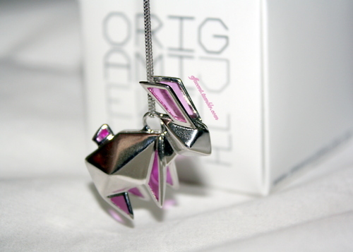 bunny, fashion, jewelry, necklace, origami, rabbit, silver