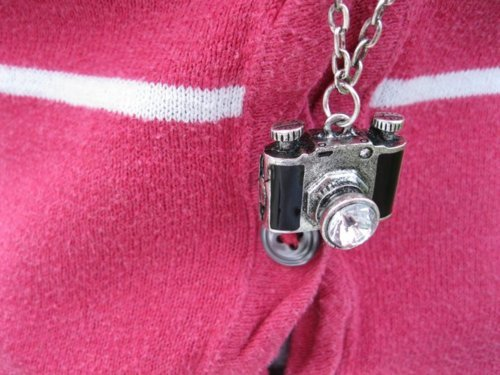 camera, chain, cute, girly, necklace, pink, rhinestone, silver