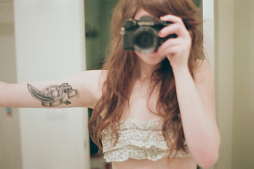 camera, girl, sadieharris - flickr, tattoo