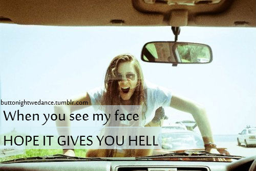 car, girl, gives you hell, hell, love