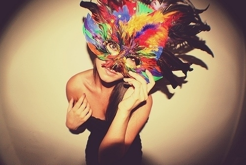 carneval, colourful, feathers, girl, mask, photographie