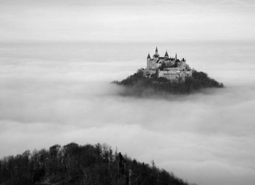 castle, clouds, landscape, mountains, sky