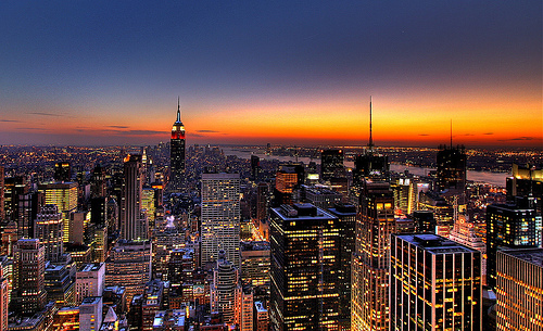 city, city lights, cute, dark, lights, lovely, new york, new york city, photography, pretty, sunset