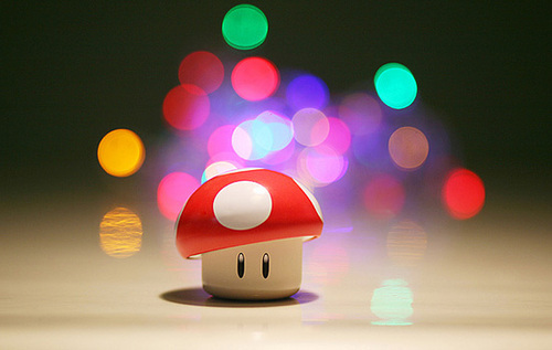 colors, cute, fluorescent, mushroom, play, red