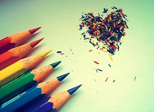 colors, heart, pencils, rainbow