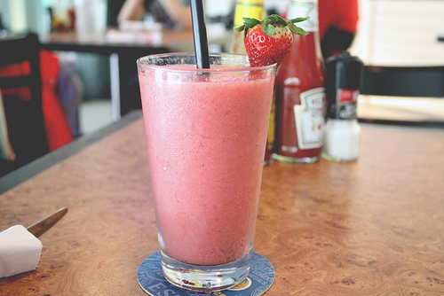 cute, food, pink, smoothie, strawberry