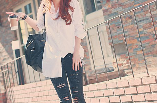 dress shirt, korean fashion, riped jeans
