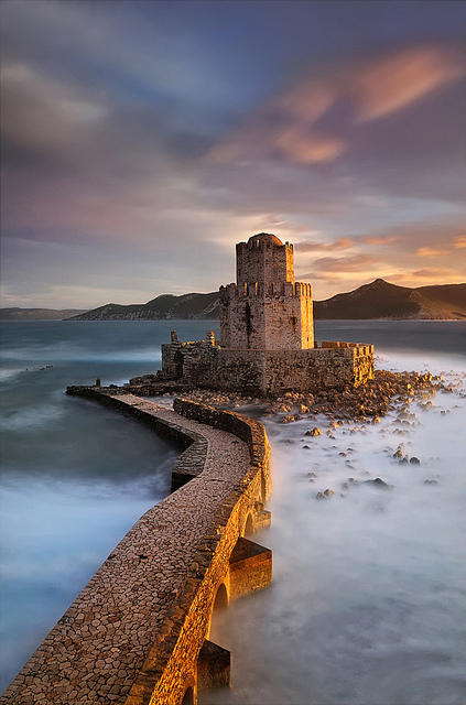 fog, fort, greece, maria kaimaki, methoni, mist, ruin